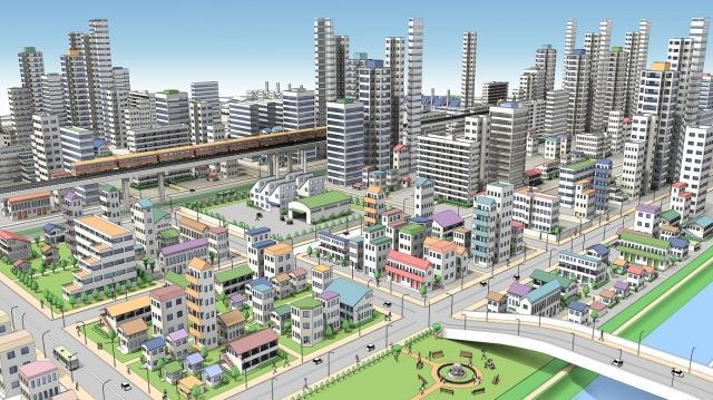 市街地の鳥瞰図