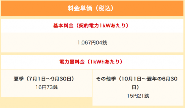 「東京電力」中部エリアの低圧電力料金