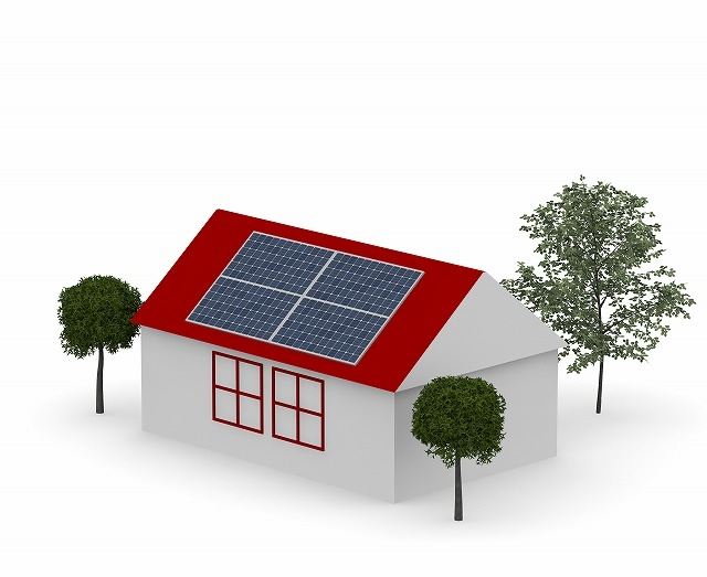 太陽光パネルのある家のイラスト
