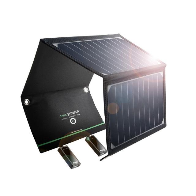 RAVPower 折りたたみ式 軽量 2ポート ソーラーパネル