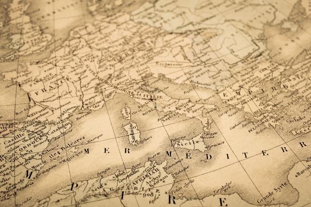 アンティークの世界地図地中海沿岸地域