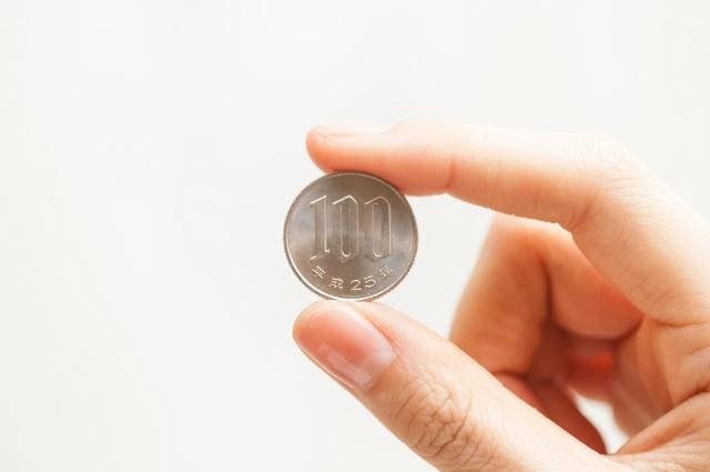 100円玉を持っている手
