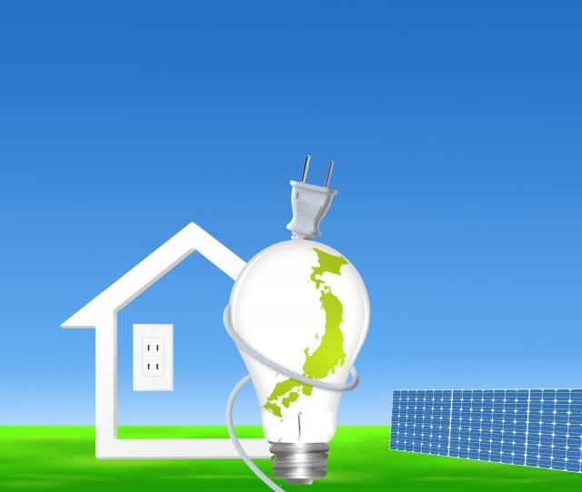 電球と家と太陽光パネル