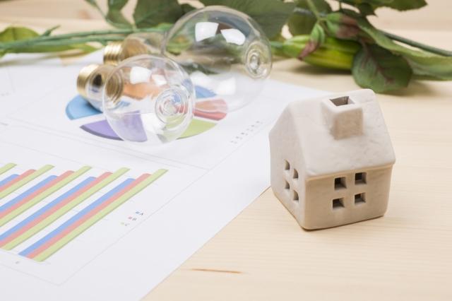 電卓と電球と観葉植物